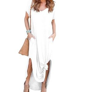 Grecerelle White Casual Maxi Dress Tie Front NWT